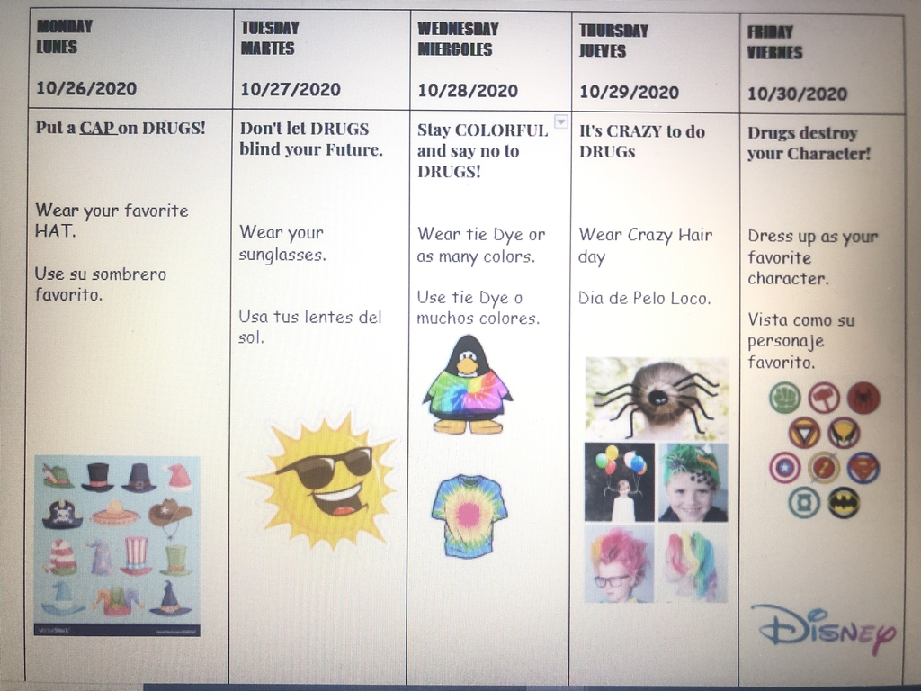 Red Ribbon Dress Up days! Oct.26th- 30th