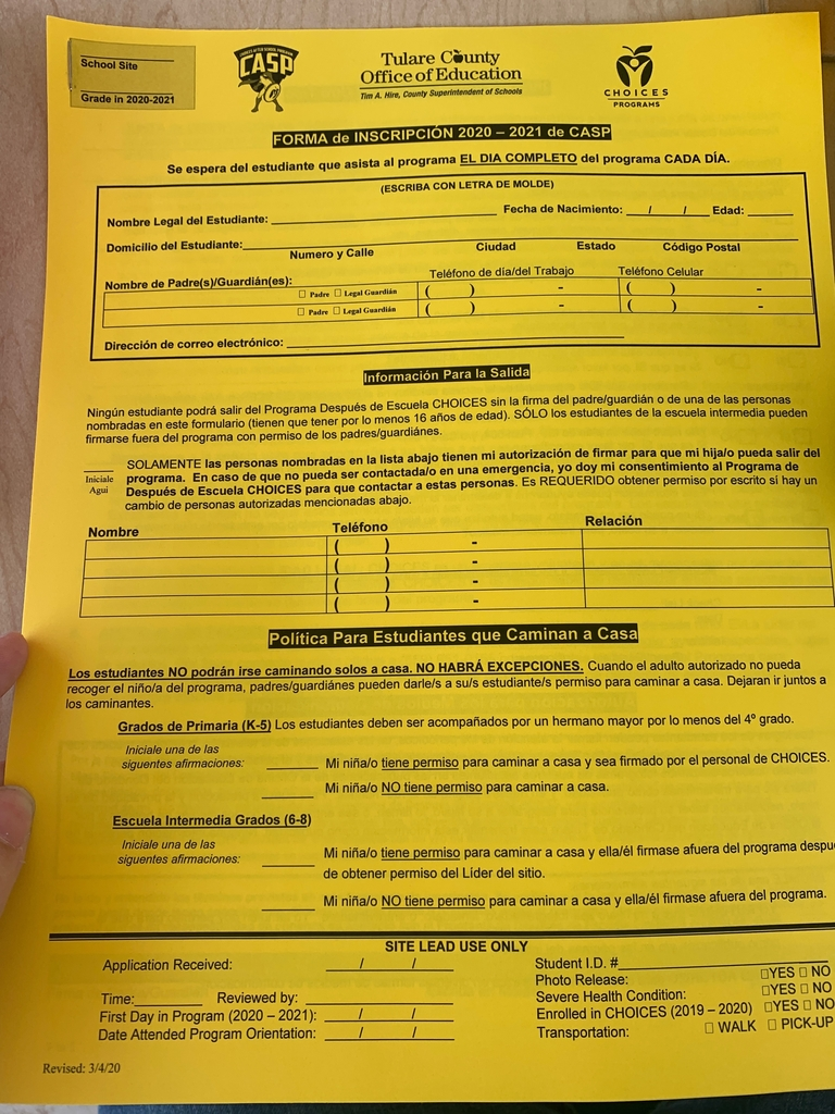 CHOICES is handing out registration forms for school year 2020-2021 today from 4-6pm in front Ducor school! CHOICES  esta repartiendo Registraciones para el ano escolar 2020-2021. Hoy 5/20/2020 de 4-6pm